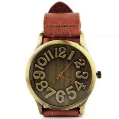 Yika Women's Vintage Bronze Round Leather Band Wrist Watch (Orange) (Intl)