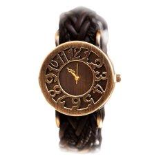 Yika Women's Vintage Weave Band PU Leather Quartz Wrist Watch (Black) - Intl