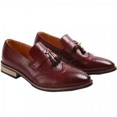 YINGLUNQISHI Men's Bullock Wingtip Leather Dress Shoes (Red) JC-005