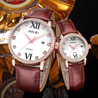 YJJZB Genuine Leather Strap Watch Brand Lovers Watch Wholesale Calendar One Generation Waterproof (Couple Watch)
