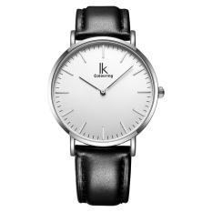 YJJZB IK colouring Ultra Thin Minimalist Fashion Casual Mens Watches Top Brand Luxury Genuine Leather Strap Quartz Watch Business Man (SilverBlack)
