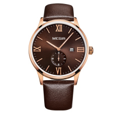 YJJZB MEGIR E-commerce Mountaineering Outdoor Sports Waterproof Luminous Three Men's Sports Watch Male Watch 2011AG (Brown)