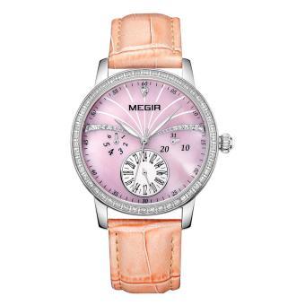 YJJZB MEGIR Waterproof Watch Genuine Leather Fashion Quartz Watch Female Models (Pink)