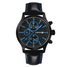 YJJZB Switzerland Ochstin Genuine New Men's Sports Watch Waterproof 6-pin Male Personality Watch Big Dial Leather (Blue)