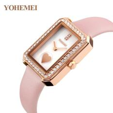 YOHEMEI 0171 Simple Trend Lady Waterproof Fashion Quartz Watch Genuine Leather Strap Pink - intl