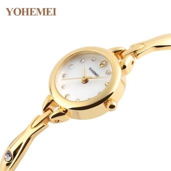 YOHEMEI Popular Women Watches Rhinestones Watch Waterproof Alloy Strap Quartz Wrist Watches Ladies Clock 0184 - White - intl