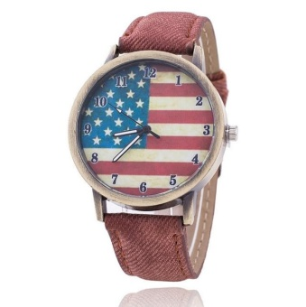 Yumite denim ancient bronze watch American flag retro male and female couple quartz watch student watch brown watch American flag pattern dial - intl