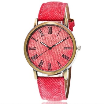 Yumite denim Romanian bronze watch simple and clean color watch male and female student table red watch red dial - intl
