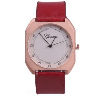 Yumite diamond watch neutral large watch Geneva watch men's belt watch female table quadrilateral quartz watch red watch white dial - intl