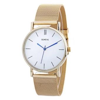 Yumite Sushi Stylish Men's Watch New Necklace Ladies Watch Alloy Geneva Quartz Watch Round Dial Gold Strap Gold Dial - intl