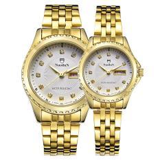 yuwen NUODUN Brand fashion high-grade diamond-studded steel waterproof double calendar couple watches (GoldWhite)
