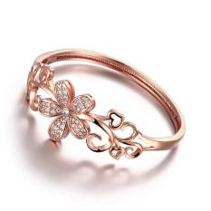 Z005-B New Fashion Jewelry Rose Gold Plated Bracelets Flower Crystal Rose Gold Beautiful - Intl