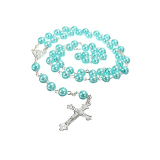 Zhouda Rosary Chain Faux Pearl Beads Necklace (Blue) - Intl