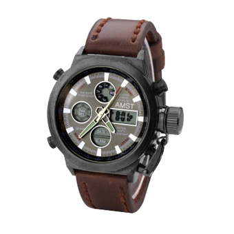 ZigZagZong New Mens LED Watches Quartz Analog Stainless Steel Military Sport Wrist Watch Black-Brown