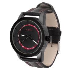 ZUNCLE 3971 Men's Fashionable Quartz PU Band Waterproof Wrist Watch –Black + Red (Intl)