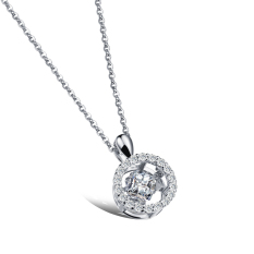 ZUNCLE 3D Round Diamond Pendant Necklace Women Valentines (Silver) (Intl)