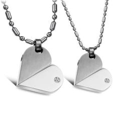 ZUNCLE Can Move Heart-shaped Couple Fashion Stainless Steel Necklace-2 Pieces (Silver)