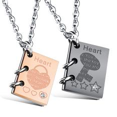 ZUNCLE Creative Arts Punk Book Couple Pendant Necklace (Black + Rose Gold)
