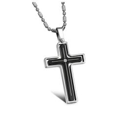 ZUNCLE Diamond 360 Degree Rotation Titanium Steel Cross Women Pendant Necklace (Black)