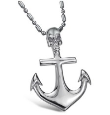 ZUNCLE Hip-hop Fashion Personality Anchor-shaped Cross Skull Necklace Wholesale (Silver)