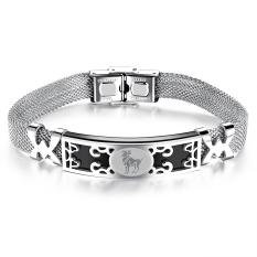 ZUNCLE Korea Constellation Hollow Men / Women Unisex Bracelet Bangles (Silver) -Aries