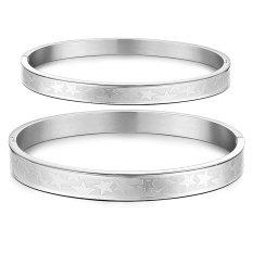 ZUNCLE Korean Fashion Classic Pentagram Titanium Steel Couple Gift Bangle Bracelet (Silver) -2 Pieces