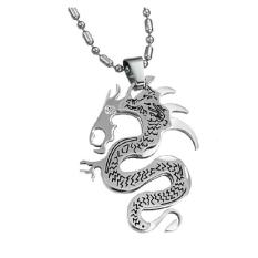ZUNCLE Korean Fashion Personality Titanium Steel Jewelry Dragon Necklace Wholesale (Silver)