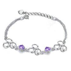 ZUNCLE Korean Heart-shaped Silver-plated Platinum Diamond Women Bracelet (Purple)