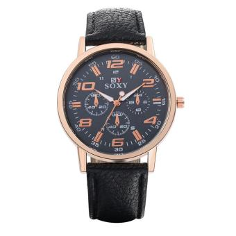 ZUNCLE Men Casual Leather Quartz Wrist Watches (Black)