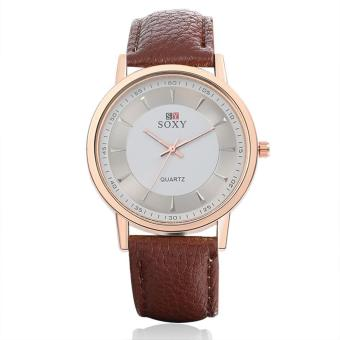 ZUNCLE Men Leather Quartz Wrist Watches (Coffee)