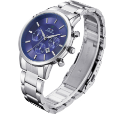 ZUNCLE Men's Fashion Stainless Steel Band Waterproof Analog Quartz Watch with Calendar (Blue)