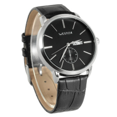 ZUNCLE Men's W7122GDBK-1 Fashion Casual Waterproof Genuine Leather Strap Quartz Watch W / Week / Calendar - Silver + Black (Intl)