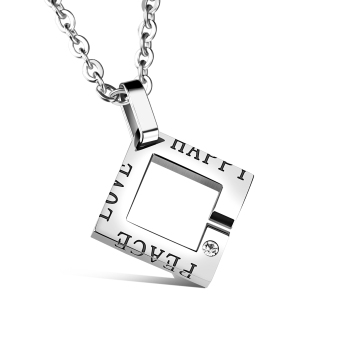 ZUNCLE Swiss Diamond Pendant Women Lettering Square Necklace (Silver)