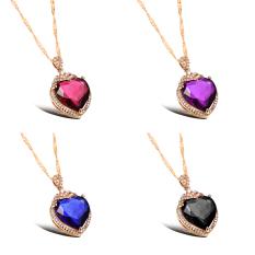 ZUNCLE Switzerland AAA Zircon Heart-shaped Diamond Pendant Necklace Bride Wedding (Blue) (Intl)