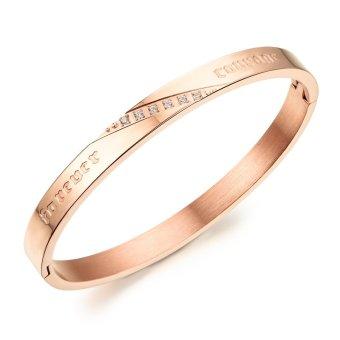 ZUNCLE Women Simple Atmospheric Diamond Bangles Fashion Lovers Titanium Steel Bracelet (Gold)