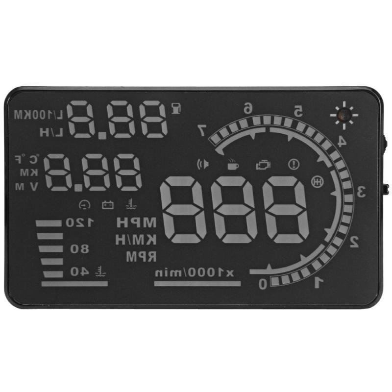 A8 5.5 inch Car HUD Head Up Display Windscreen Projector Vehicle OBD II Speed Warning Fuel Consumption Car Driving Data Diagnosis (Intl)