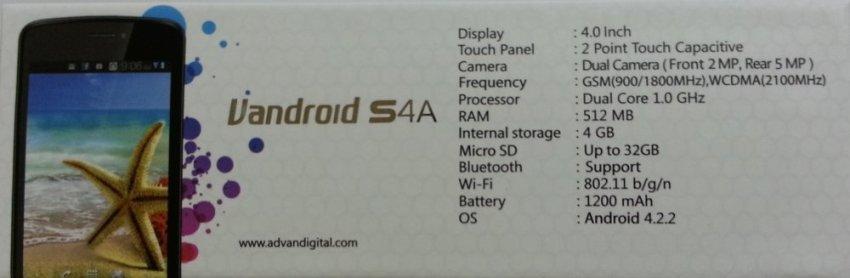 Advan Vandroid S4A - Dual SIM - Putih