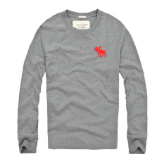 AF Men 's Casual Fashion Long - Sleeved Round Neck Cotton T - Shirt (Grey)