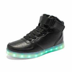 AFS Women's Men's Fashion High Top Sneakers USB LED Light Luminous Shoes - Black