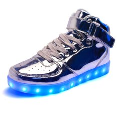 AFS Women's Men's Fashion High Top Sneakers USB LED Light Luminous Shoes - Silver