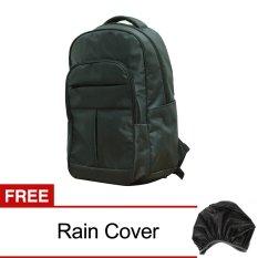 AIUEO Casual Tas Laptop Dan Ransel Backpack Type 002 - Hitam + Gratis Rain Cover