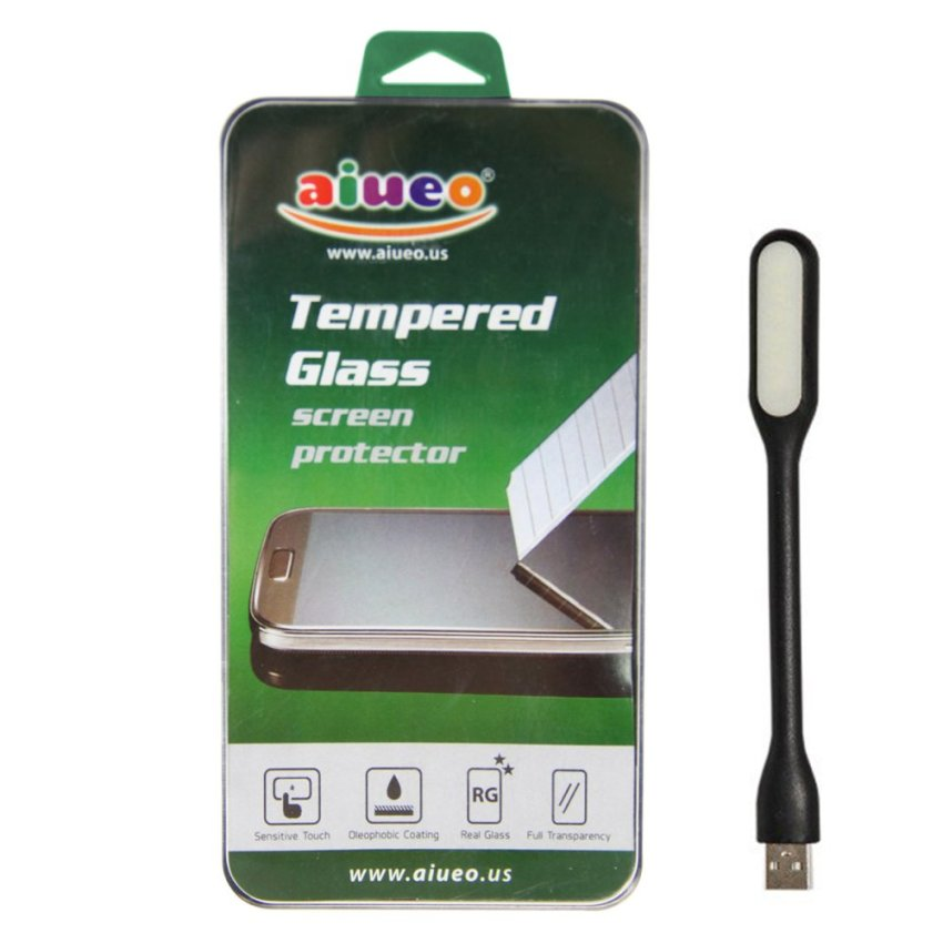 AIUEO - HTC One E8 Tempered Glass Screen Protector Bundling Power Angel LED Portable Lamp