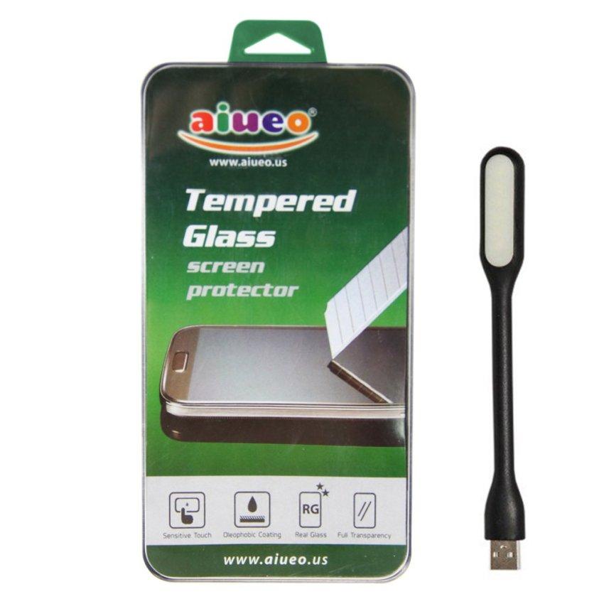 AIUEO - Samsung Galaxy A3 A300 Tempered Glass Screen Protector Bundling Power Angel LED Portable Lamp
