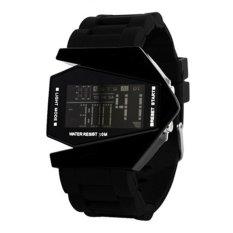 Allwin New Cool Men's Oversized Light Digital Sports Quartz Rubber Wrist Watches Black (Intl)