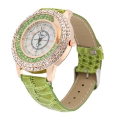 Allwin New Round Women PU Leather Band Simulate Diamond Pearl Quartz Wrist Watch Green- Intl