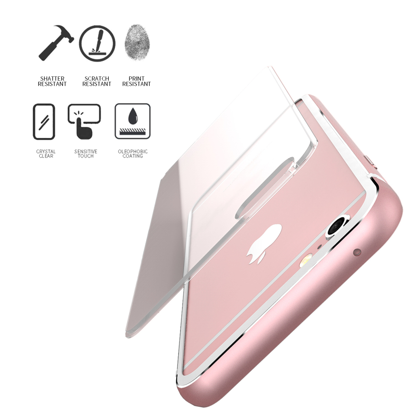 Aluminum Metal Bumper Clear Back Case for iPhone 6 Plus /6s Plus 5.5 (Rose Gold)(INTL)