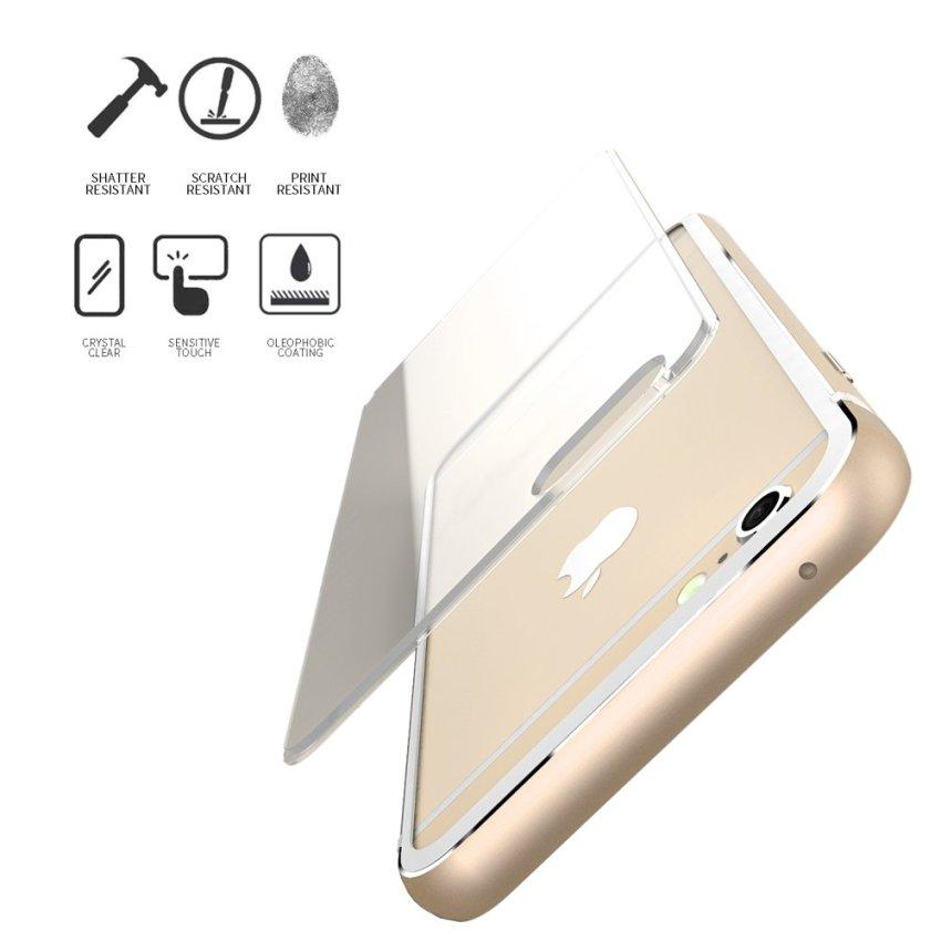 Aluminum Metal Rubber Bumper Clear Case for iPhone 6 Plus /6s Plus 5.5 (Gold)(INTL)