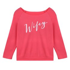 Amango Women Wify Letters Printed T-Shirt Slim Tops Long Sleeve Pullover Pink - Intl