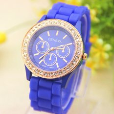 Analog Quartz Wrist Watch Jelly Golden Crystaal Silicone Watch Blue