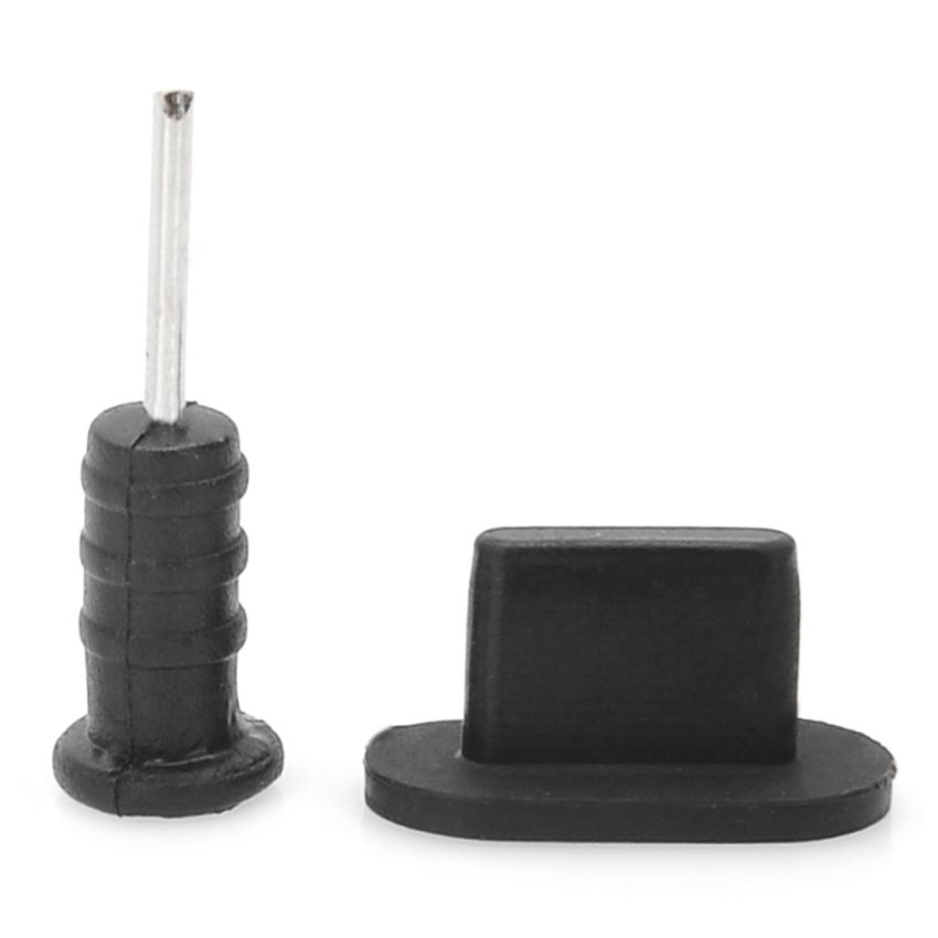 Anti-Dust Plug Stopper + SIM Card Tray Extraction Pin for iPhone 5 - Black